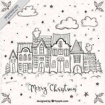 Fondo de feliz navidad con bocetos de fachadas