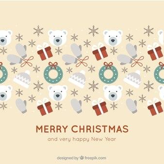 Fondo de feliz navidad con elementos de invierno