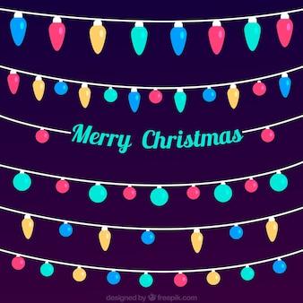 Fondo de feliz navidad con luces de colores