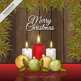 Fondo de feliz navidad con velas en estilo realista