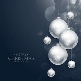 Fondo de feliz navidad de bolas plateadas