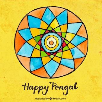 Fondo de feliz Pongal colorido pintado a mano