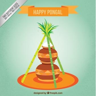 Fondo de feliz Pongal con tarros de arroz