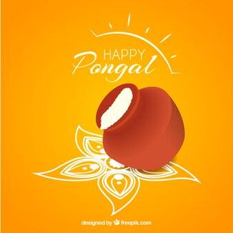Fondo de feliz Pongal en color amarillo
