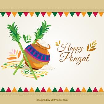 Fondo de feliz Pongal en estilo étnico