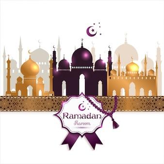 Fondo de feliz ramadan con mezquitas doradas y detalles morados