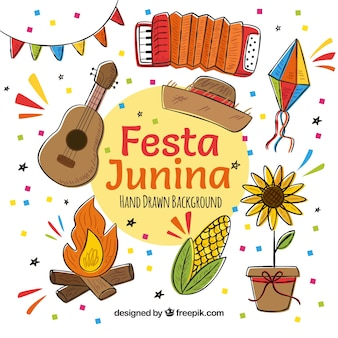 Fondo de festa junina con elementos típicos dibujados a mano