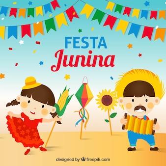 Fondo de festa junina con linda pareja