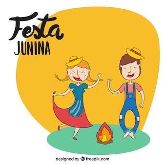 Fondo de festa junina con pareja bailando dibujada a mano