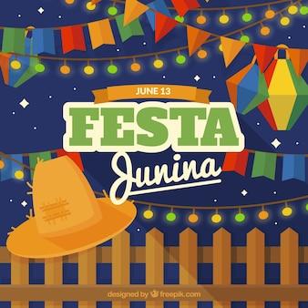 Fondo de festa junina con sombrero y elementos de fiesta