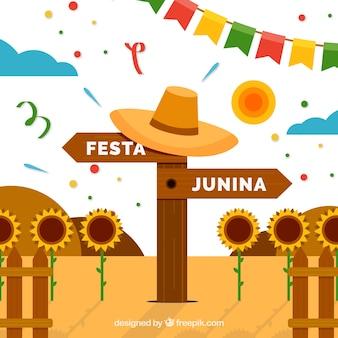Fondo de festa junina con una señal de madera