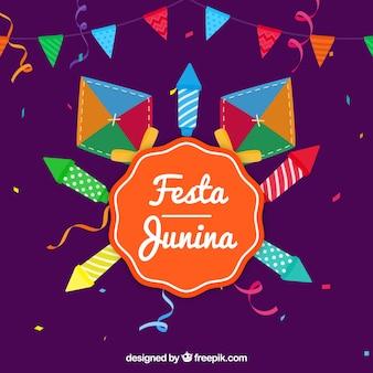 Fondo de festa junina de cohetes y cometas