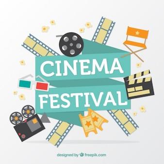 Fondo de festival de cine con elementos