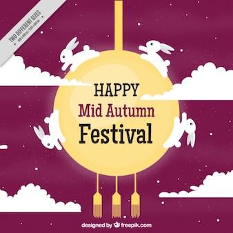 Fondo de festival de medio otoño de conejos y luna