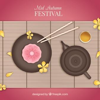 Fondo de festival del medio otoño con comida típica