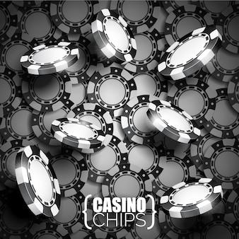 Fondo de fichas de casino en blanco y negro