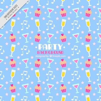Fondo de fiesta con bebidas y magdalenas en diseño plano