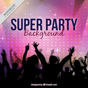 Fondo de fiesta con multitud bailando