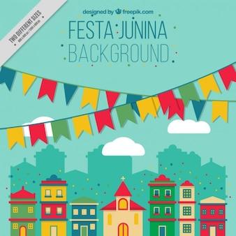 Fondo de fiesta junina con ciudad decorada