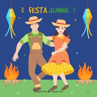 Fondo de fiesta junina con gente bailando
