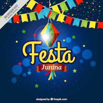 Fondo de fiesta junina con guirnalda colorida