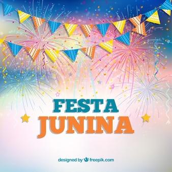 Fondo de fiesta junina con guirnaldas y fuegos artificiales