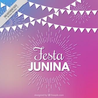 Fondo de fiesta junina con líneas y banderines