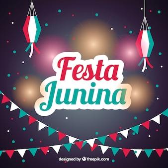 Fondo de fiesta junina con luces y guirnaldas