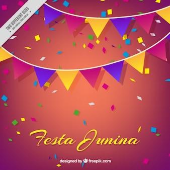 Fondo de fiesta junina de guirnaldas de colores con confeti