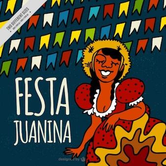 Fondo de fiesta junina dibujado a mano con mujer y guirnaldas