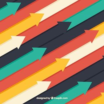 Fondo de flechas colorido con diseño plano