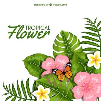 Fondo de flores con hojas y mariposa