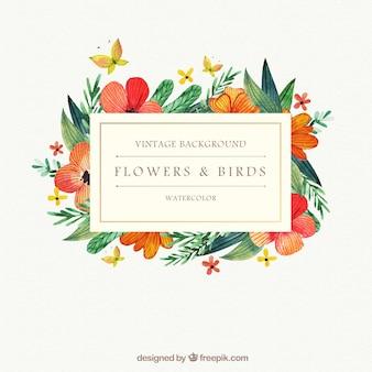 Fondo de flores de acuarela con pájaros