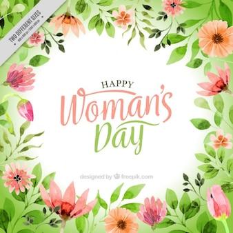 Fondo de flores de acuarela del día de la mujer