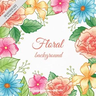 Fondo de flores de colores pintadas a mano con hojas