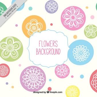 Fondo de flores dibujadas a mano con círculos de colores