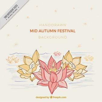 Fondo de flores dibujadas a mano del festival del medio otoño