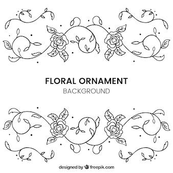 Fondo de flores ornamentales dibujadas a mano