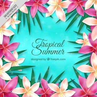 Fondo de flores realistas exóticas