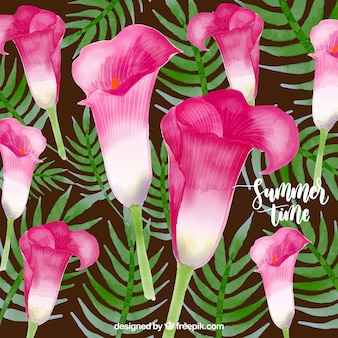 Fondo de flores tropicales de verano en acuarela