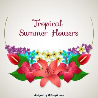 Fondo de flores tropicales de verano