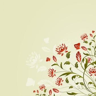 Fondo de flores y mariposas