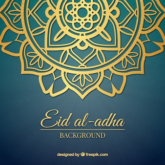 Fondo de forma ornamental dorada de eid al-adha