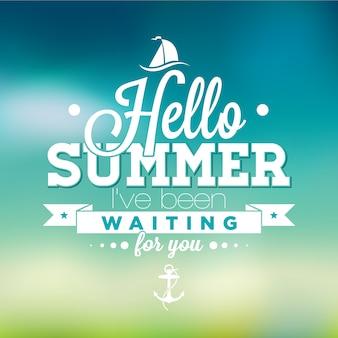 Fondo de frase de hola verano