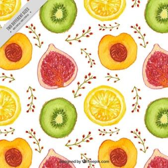 Fondo de frutas de acuarela