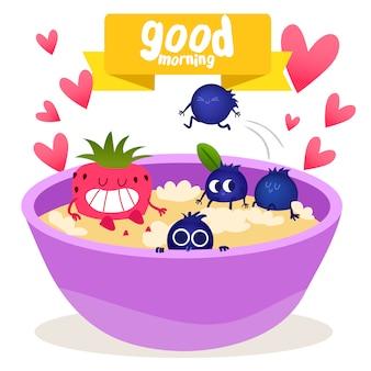 Fondo de frutas y cereales