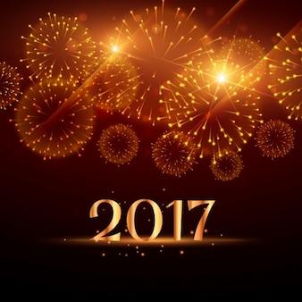 Fondo de fuegos artificales dorados de año nuevo
