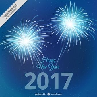 Fondo de fuegos artificiales azules de año nuevo