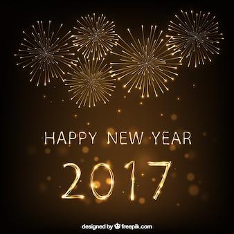 Fondo de fuegos artificiales de feliz año 2017