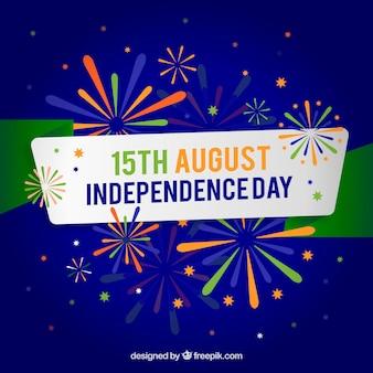 Fondo de fuegos artificiales del día de la independencia de india